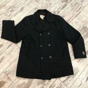 Calvin Klein black classic pea coat